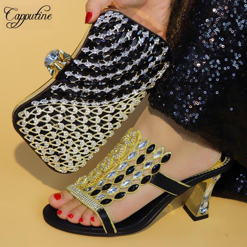 bleu Cm Partie Italien rouge Femme Noir À Chaussures Africaine Elgent Sac 745 Talon Style Ensemble pourpre Haute Pour Main or Mode Tx 8 Et Strass xpw16nzSST