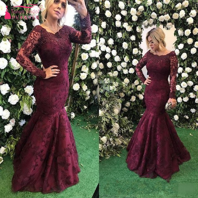 Burgundy Lace Mermaid   Prom     Dresses   Long Sleeve Beads Long Formal Evening Party Gowns Vestidos De Fiesta Special Occasion   Dress