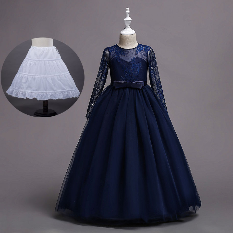 Long Lace Sleeve Teens Big Kids Dresses Girls for Party and Wedding Red Mint Green Champagne Navy Blue Wedding Dress стоимость