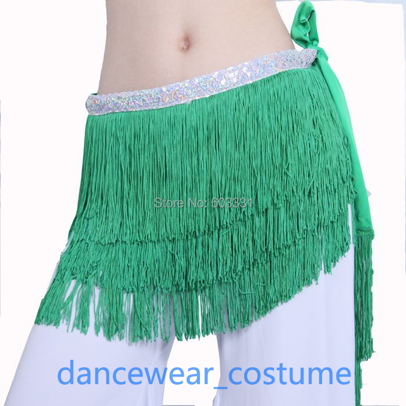 adult Ladies Belly Dance Costume Hip Scarf Wrap Skirt Women's Green Competition Practice Fringes Dress - dance dress store
