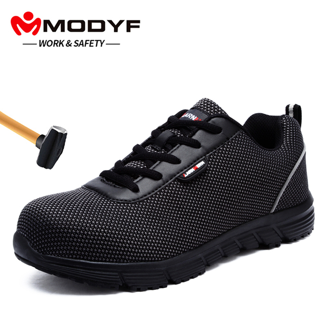 MODYF Men's Steel Toe Work Safety Shoes Lightweight Breathable Anti-smashing Reflective Casual Sneaker