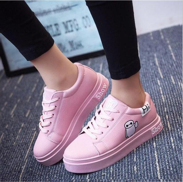 2017 New Women Casual Shoes Slip On Lace Up Black Flats Pu Leather Shoes Woman Platform Female Shoes Chaussure Femme