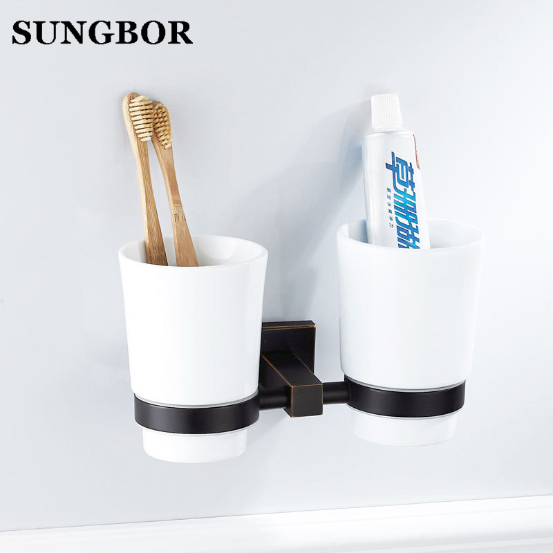 Wall Mounted Bathroom Double Cup Holders Black Oil Rubbed Brass Finish Toothbrush Holders with Ceramic Cups GJ-60902H image