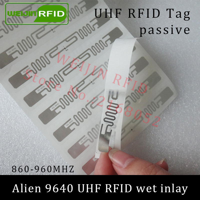 UHF RFID tag sticker Alien 9640 wet inlay 915mhz 900 868mhz 860-960MHZ Higgs3 EPCC1G2 6C smart adhesive passive RFID tags label 860 960mhz long range passive rfid uhf rfid tag for logistic management