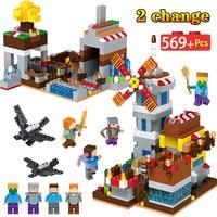 569PCS My World Seaside Castle Set Bricks Legoingly Minecrafted Figures Windmill Building Blocks Educational Toys For Children