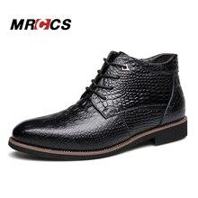 MRCCS Plus La Taille Hiver Chaud Bottes de Neige Avec Fourrure, Mode Crocodile Motif Cheville Boot, Hommes de Style Étanche Casual Chaussures