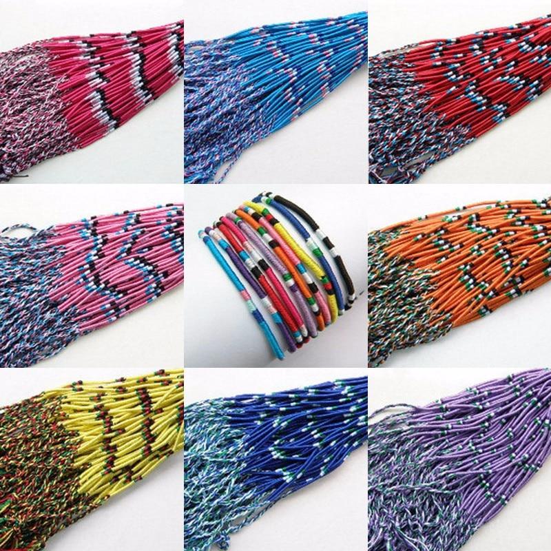 10//50Pcs Colorful National Style Lucky Braid Cord Handmade Bracelet