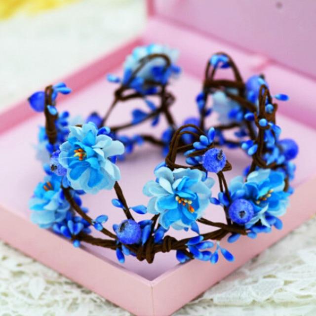 Faashion Braut Blume Krone Haar Kranz Blau Blumen Hochzeit Tiara