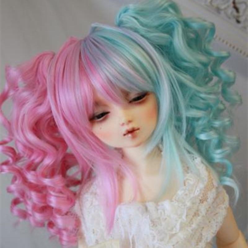 High temperature wire bjd wig multi color wigs 1/6 1/4 1/3 smoke powder double horsetail 100 cm high temperature wire cos wig gasai yuno