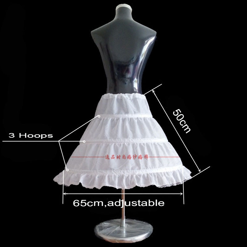 Купить с кэшбэком 3 Hoops Short Petticoat for flower girls first comm Crinoline Underskirt Wedding Dress Skirt Slips Waist adjustable