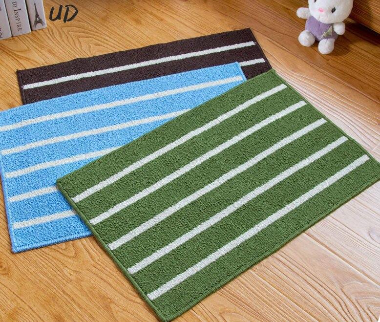 Blue Kitchen Floor Mats: Blue Brown Classic Striped Minimalist Kitchen Bathroom