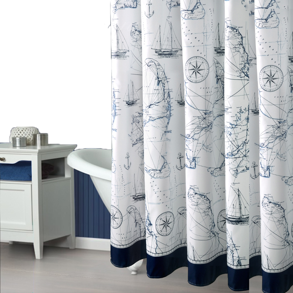 modern romantic sailing fabric shower curtains liners non toxic waterproof mildew free water. Black Bedroom Furniture Sets. Home Design Ideas