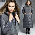 OUFANCI Brand 2016 Winter Women's Spliced Type Down Jacket New Design Standing Collar 90% White Goose Down Coat Long Solid Black