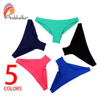 Andzhelika Bikini bottom 2018 Sexy Solid Bikini Brazilian Swimwear Women Bottom Biquini Swimming Trunk Split Swimwear