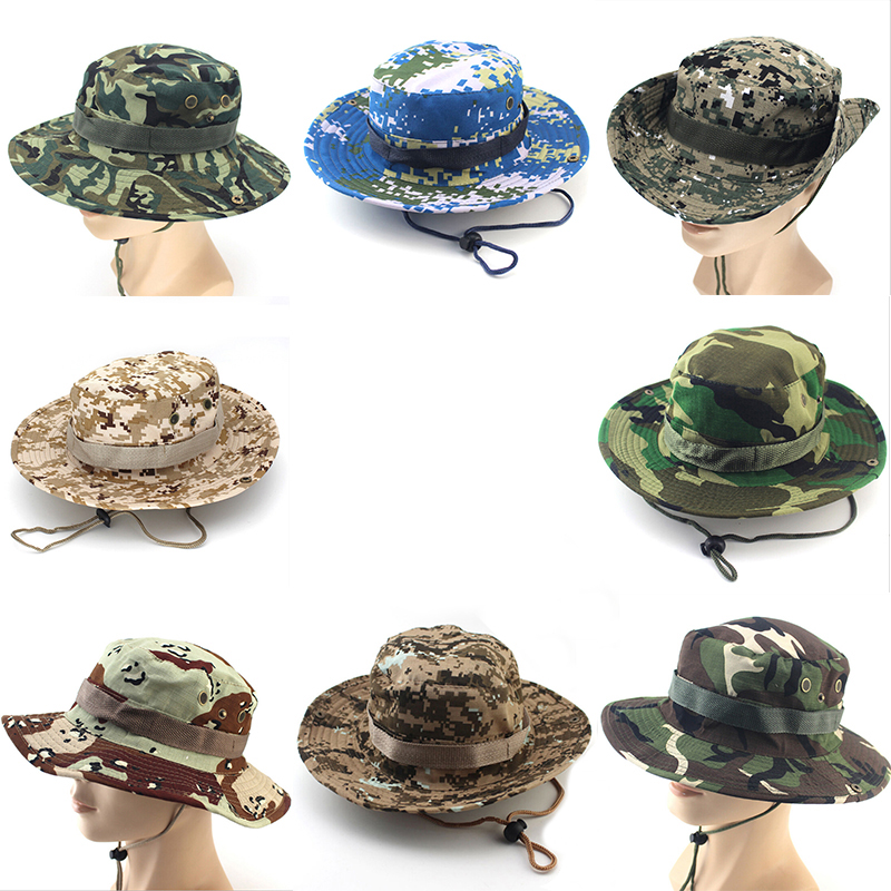 Bucket Hat Boonie Hunting Fish Outdoor Cap Wide Brim Military Unisex Sun Camo SP