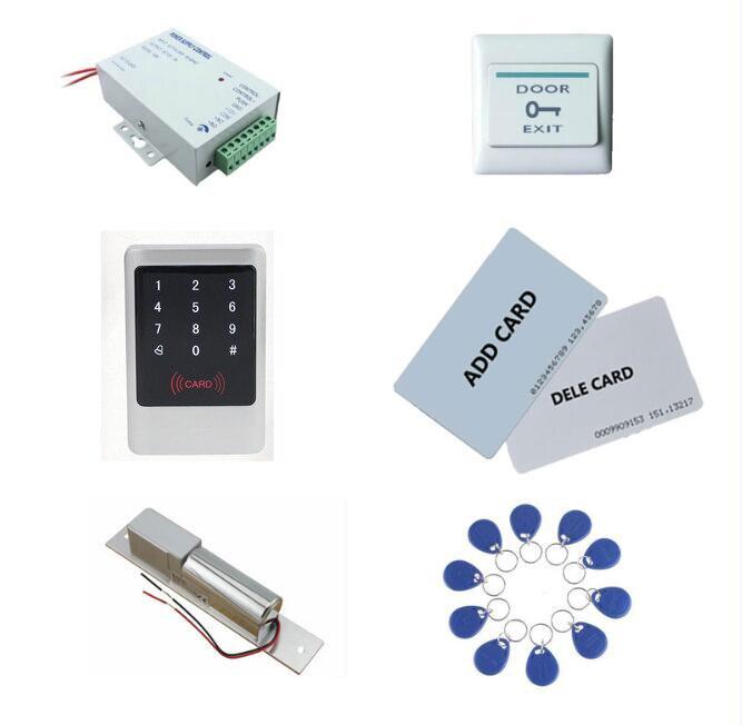 Metal Access control kit,em/ ID keypad access control+ power+bolt lock+exit button+ 10 keyfob ID tags,sn:Tset-2Metal Access control kit,em/ ID keypad access control+ power+bolt lock+exit button+ 10 keyfob ID tags,sn:Tset-2