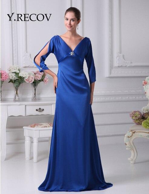 Elegant Mother Bride Dresses Yd2075 A Line V Neck Royal Blue Long Sleeve