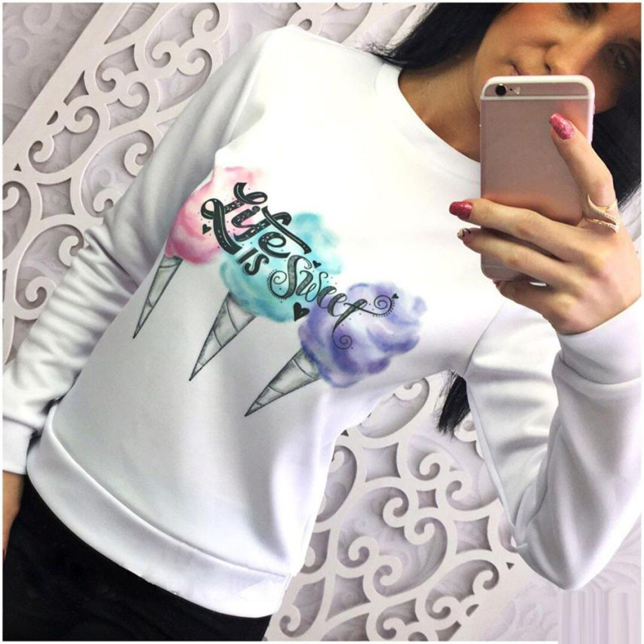 feitong Tie dye Unique Design Women Long Sleeve Round Neck Ice Cream Printed Tops Blouse Shirt Worth buying