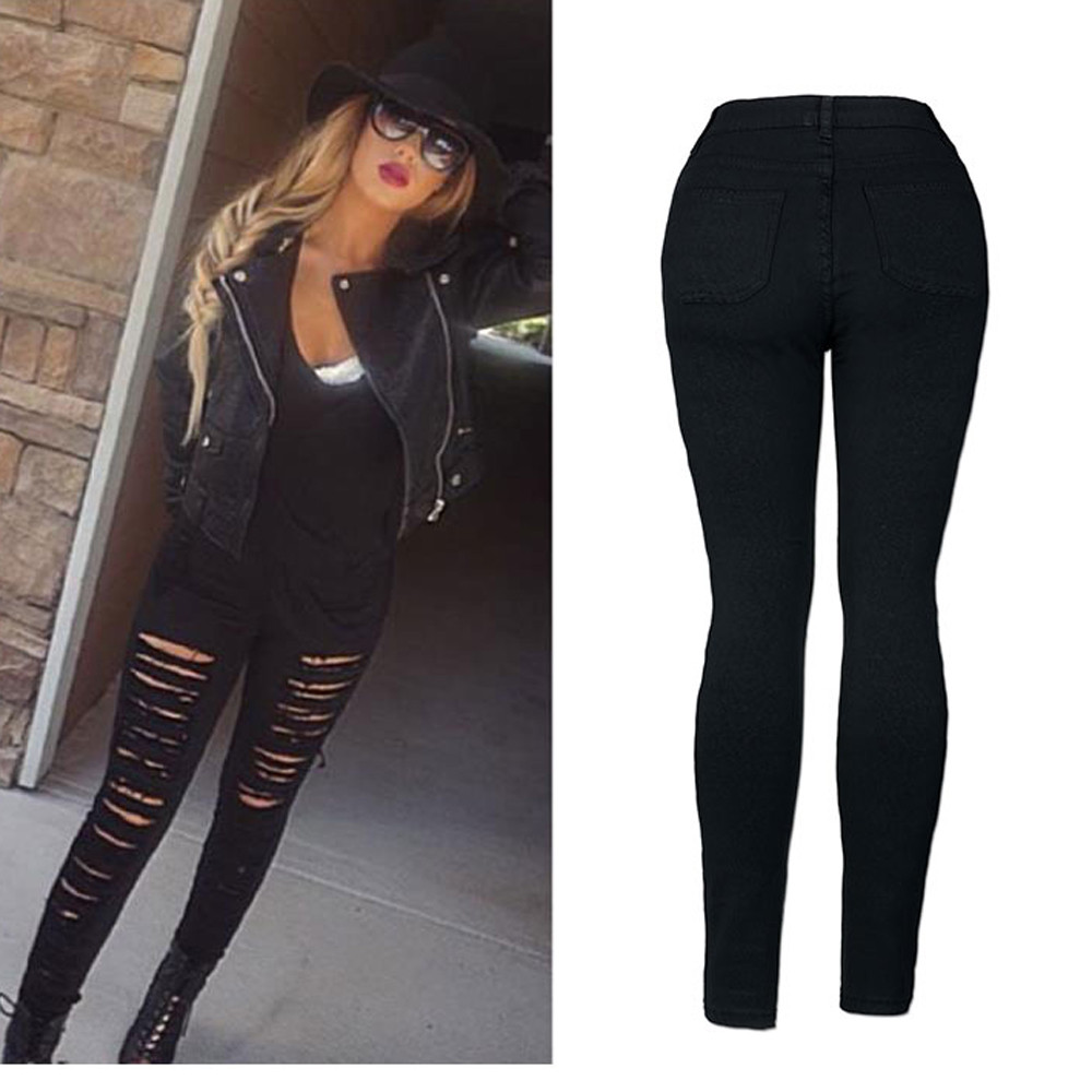 Denim Skinny Ripped Pant High Waist jeans pants women Stretch Jeans Slim Pencil jeans for women vaqueros mujer#G9
