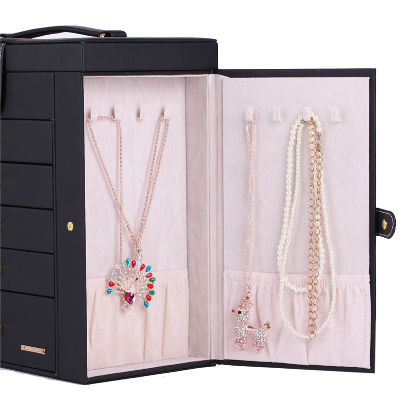 Extra Large Jewelry Box Velvet Display Organizer Packaging Girls Earring Necklace Ring jewellery Storage Holder Mirror