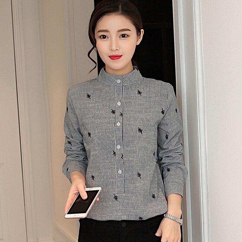 03b3efc7e6 2017 otoño coreano túnica tira mujeres blusas moda hojas bordado manga  larga Camisa de algodón mujeres tops