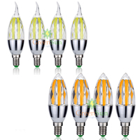 4Pcs Set E14 Edison COB LED Candle Bulb C35 Vintage Spiral Lamp Super Bright Flame Style