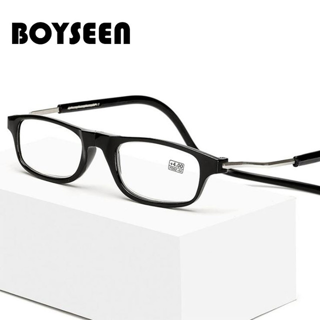 BOYSEEN Magnetic Reading Glasses Men Women Clear Colorful Adjustable Hanging Neck presbyopic glasses +1.0 1.5 2.0 2.5 3.0 3.5 4.