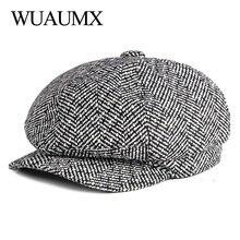 Wuaumx NEW Newsboy Caps Men Women Tweed Octagonal Hat Eight-blade Cap Detective Hats Autumn Winter Herringbone Flat chapeau