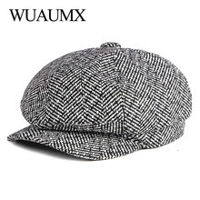 Hats Women Tweed Octagonal-Hat Newsboy-Caps Flat-Caps Detective Winter Autumn Chapeau
