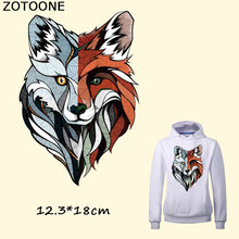 ZOTOONE Cool Colorful Wolf Iron on Transfer Patches for Clothes Decoration DIY Stripes Applique T-shirt Custom Patch Stickers E