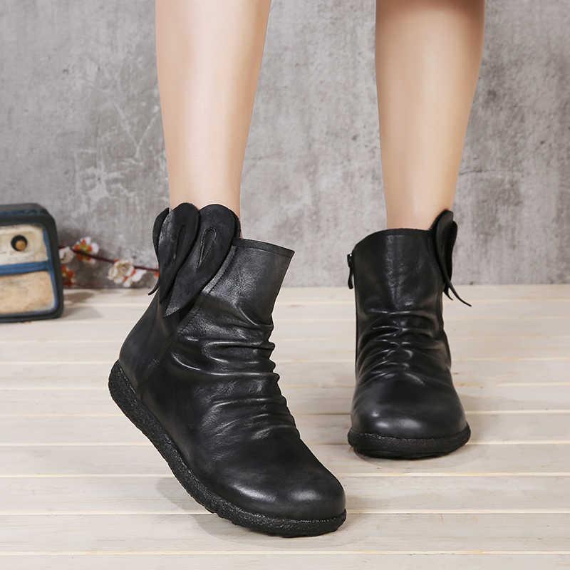 Tavuskuşu Tüyü Tasarım Ayakkabı Kadın Hakiki Deri Kadın Çizmeler Yuvarlak Ayak El Boyalı Bayan Ayak Bileği Patik