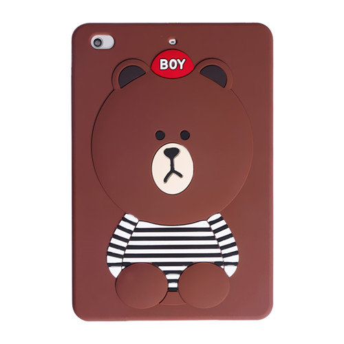 Stripped vest brown bear 3D black cat and brown bear iPad Mini 1/2/3 smart case