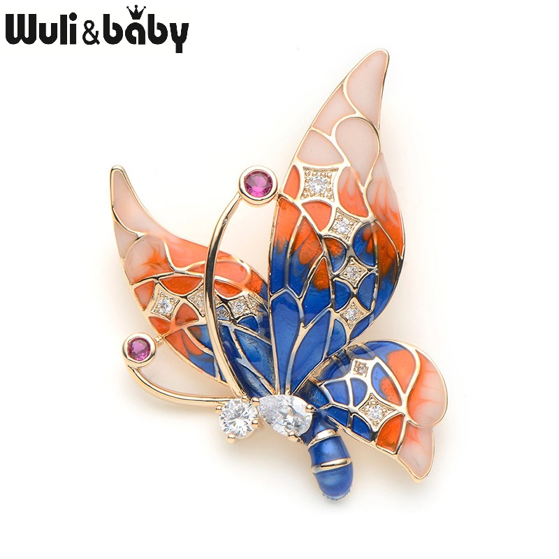 Copper Butterfly Brooches For Women Rhinestone Purple Blue Color Butterfly Insect Animal Brooch Pins For Suits