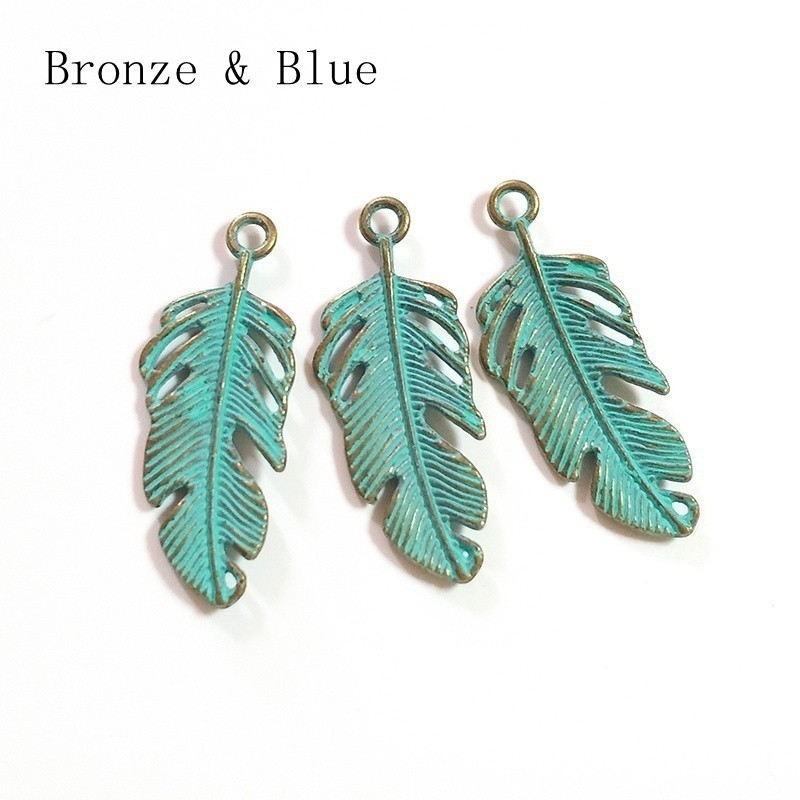 5 pcs 22*7MM Patina Plated Feather Charms For DIY Bracelet Necklace US Seller
