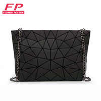 Nouveau femmes chaîne sac à bandoulière lumineux sac Bao mode géométrie Messenger sacs plaine pliage sacs à bandoulière embrayage bolso