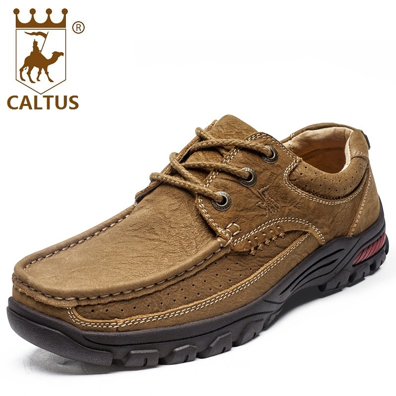 CALTUS Casual Shoes Men Breathable New Fashion Genuine Leather Men Platform Flats Wedding And Party Shoes AA20530