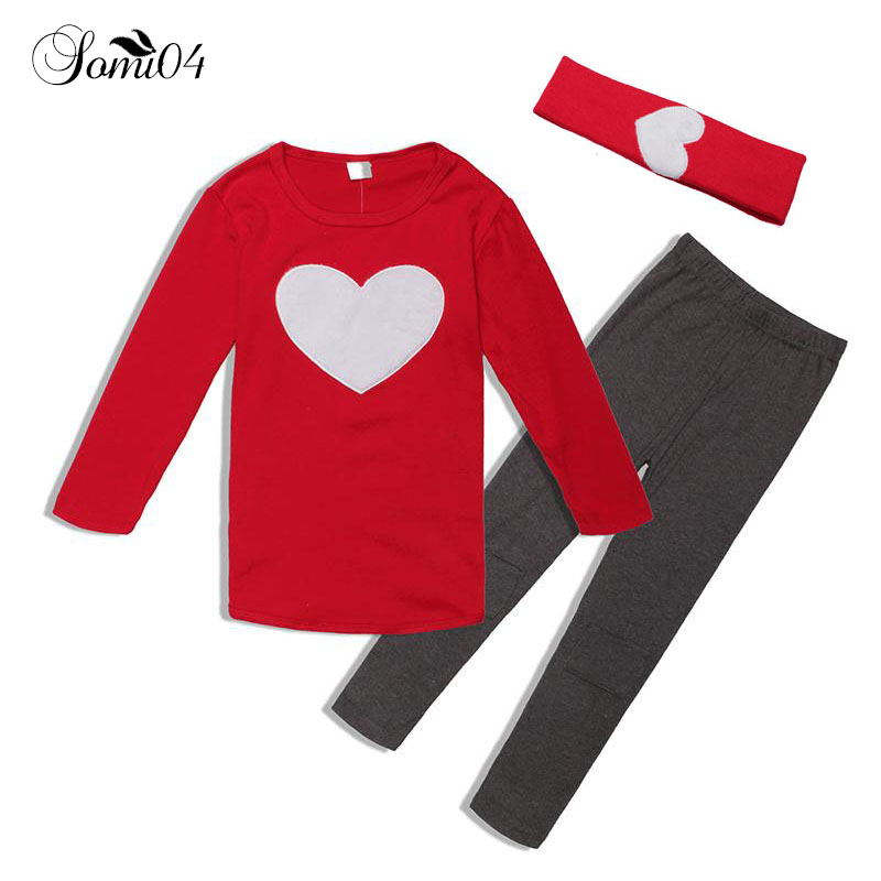 Girls 3pcs Hair Band+Long Sleeve Shirts+Pants Set 2018 New Spring Autumn Children Kids Home Clothing Suits Heart Casual Outfits