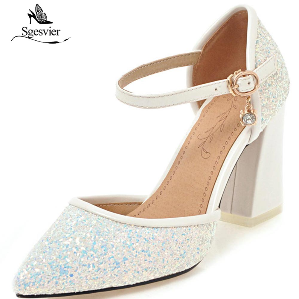 f159ce0a329f SGESVIER New 2018 Spring Brand Women Shoes Thick Heel Pointed Toe Pumps  Shoes Ankle Buckle BlingBling Party Wedding Shoes OX211-in Women s Pumps  from Shoes ...