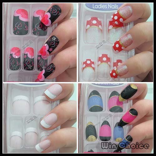 Pre design nail tips acrylic with various designs in stock false pre design nail tips acrylic with various designs in stock false nails for party photography prinsesfo Image collections