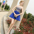 Cheap Royal Blue Short Cocktail Dresses Evening Gown Sleeves Sweetheart Chiffon Lace Up Formal Women Dress Mini