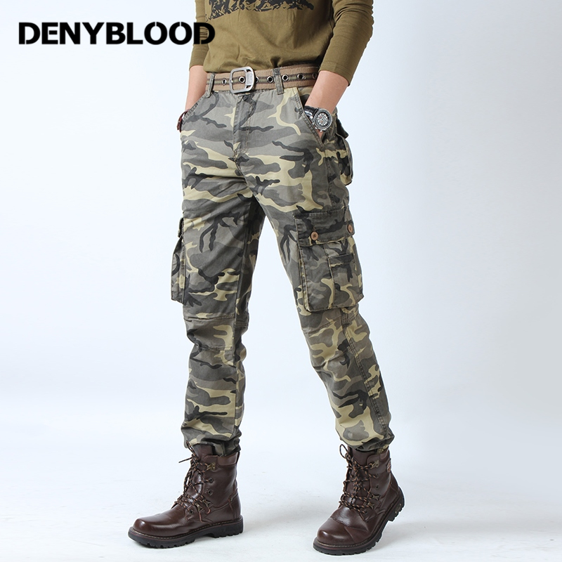 Denyblood Jeans Mens Cargo Pants Mutli Pockets Army Green Camouflage Military Male Cotton Trousers Casual Pants Work Clothes790