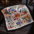 4 Colores 53 cm Flores Impreso pequeña bufanda cuadrada de seda 2017 MÁS NUEVAS mujeres bufandas de Seda pequeña Plaza 100% de Seda bufanda