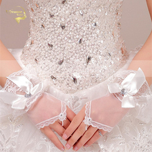 2015 bride wedding gloves short design mitring white married gauze G010