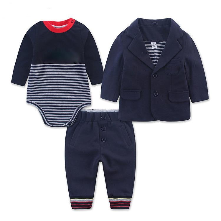 Infant Boy Clothes Fashion Bodysuit+Coat+Pant Gentleman Baby Clothes Suit Newborn Celebrity Set