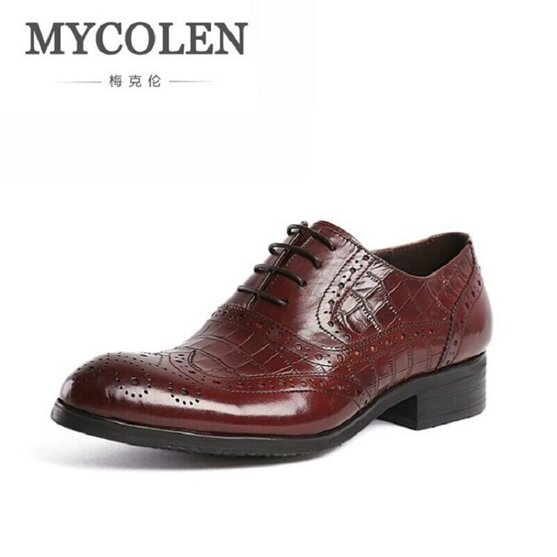 MYCOLEN Fashion Italian Men Genuine Leather Mens Dress Shoes Carved Designer Luxury Wedding Male Oxford Black Shoes Men Flats hot sale italian style men s flats shoes luxury brand business dress crocodile embossed genuine leather wedding oxford shoes
