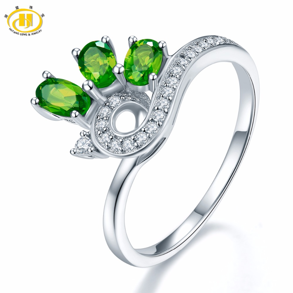 Hutang 2017 New Genuine Chrome Diopside Peacock Ring Solid 925 Sterling Silver Green Gemstone Fine Jewelry Rings for Women Gift