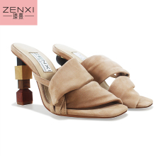 ZENXI Strange Heel Women Summer Sandals 10CM High Heel Slippers Suede Gladiator Sandal Ladies Prom Dress Shoes Slides women shoe 2016 handmade high heel sandal women gladiator butterfly sandals colorful wedding party bridal shoes prom pumps