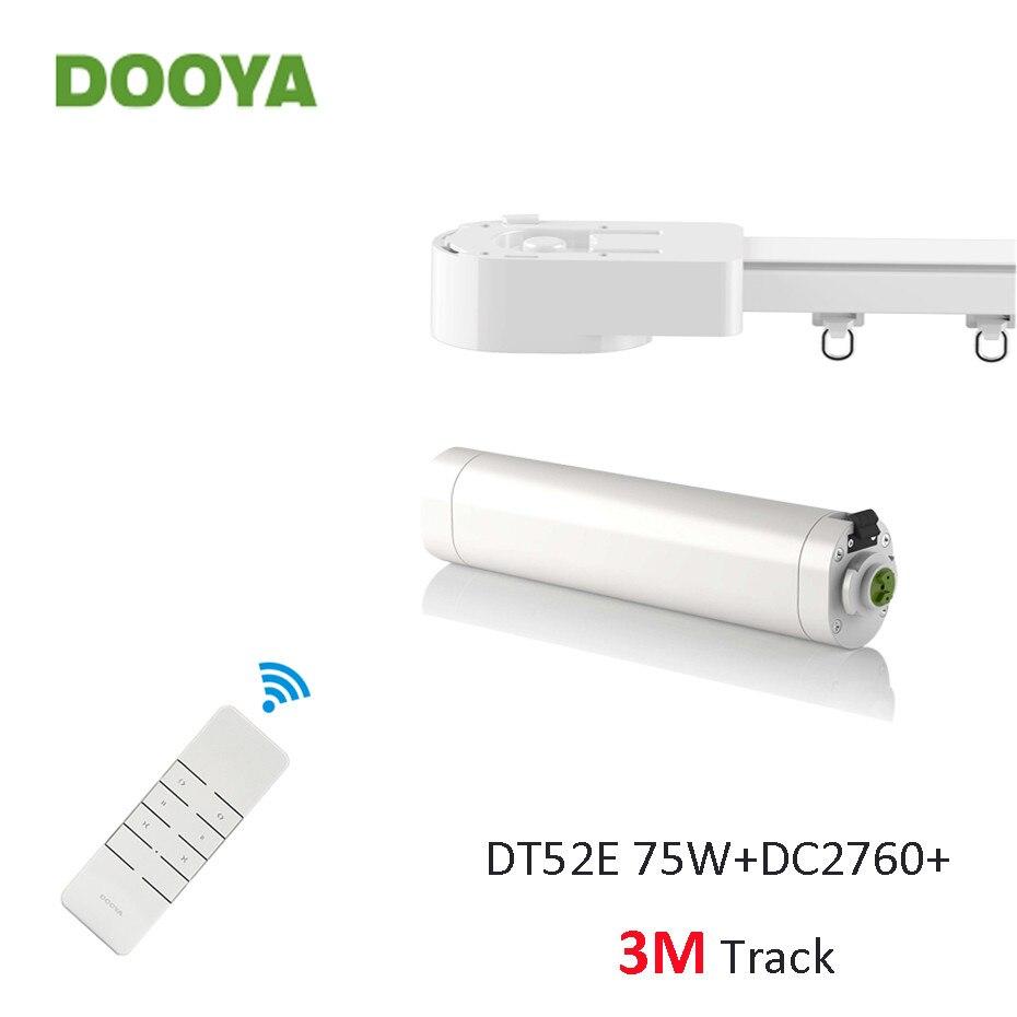 Dooya Super Tranquilo Trilha Da Cortina Sistema de Controle Inteligente, dooya DT52E 75 W + 3 M ou Menos Trilha + DC2760, RF433 Controle Remoto, Início Automático