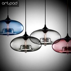 Image 5 - Artpad רב צבע מוכתם ברור זכוכית תליון אור מנורת עבור אוכל חדר בר קפה מלון מסעדת תאורת LED תליית אור