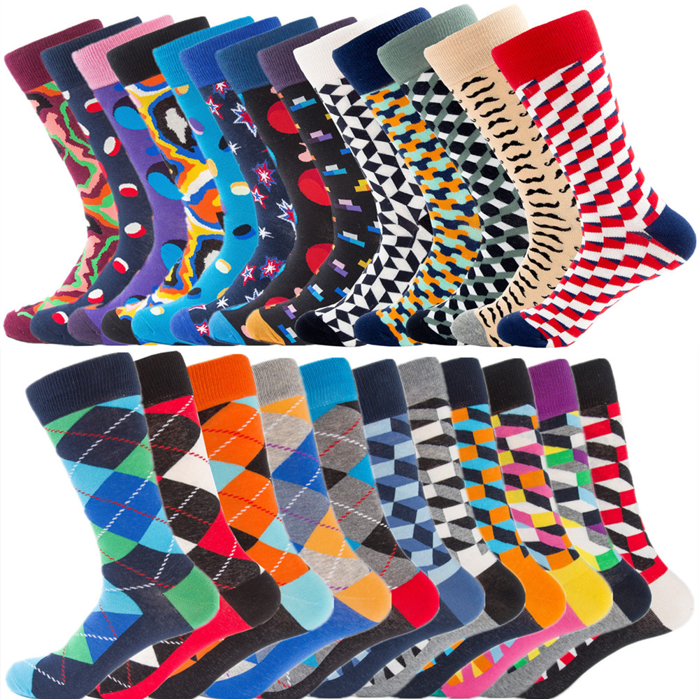 Size41-46 Men   Socks   Cotton High Quality Man Cotton Long Colorful   Sock   for Men Casual Plaid Pattern Breathable Spring   Socks